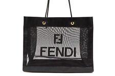 FENDI Vintage Mesh Tote Shoulder Bag Logo See-through Black 2972h