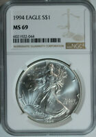 1994 Silver American Eagle Dollar / NGC MS69 / Mint State 69 🇺🇸 key date!
