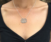 Handmade Personalised Monogram Necklace-925 Sterling Silver-1.25'' 1mm thickness