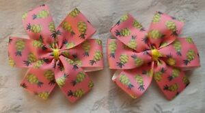 2x Girls Hair Bow Clips pink yellow fruit Summer pineapple