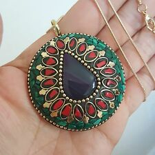 "Brass Nat. Coral Malachite Teardrop Purple Striped Agate Necklace 18k Gold 24"""