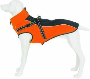 Dog Jacket Waterproof Windproof Orange Winter Coat w/Harness Size Extra Large