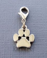 Dangle tag Dog paw print Clip On Charm Fits Link Chain, floating locket S66