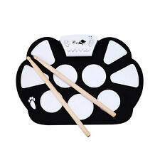 Roll Up Drum Kit 9 Pad Recording Midi In/Out Foot Pedals MP3 Jack USB Interface