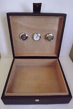 Closeout Brown Leather 25 Cigar Humidor & 2 Humidifiers & Hygrometer