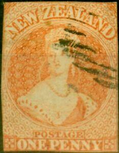 New Zealand 1857 1d Dull Orange SG8 No Wmk Good Used Example Fresh Colour