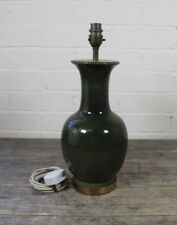 Vintage Glossed Green Ceramic & Brass Table Lamp.