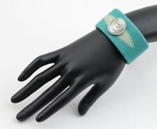 CHOPARD  STYLE TURQUOISE SHAGREEN STINGRAY LEATHER CUFF BRACELET WITH DIAMONDS