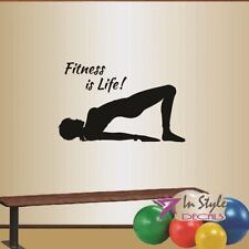 Wall Vinyl Decal Fitness is Life Girl Woman Pilates Yoga Workout Gym Sports 846