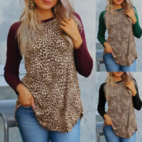 Plus Size Women Ladies Leopard T-Shirt Long Sleeve Loose Blouse Top Casual Shirt