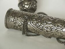 Antique Tibetan Silvered Brass Embossed Repoussé Scroll Case with Chain