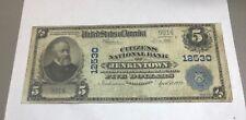 Jenkintown Pennsylvania citizens national bank $5 1902 PB fine