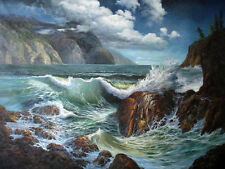 "Oil painting charming seascape huge ocean waves with rocks in sunset 48""x72"""