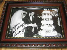 PRISCILLA PRESLEY WEDDING PHOTO WITH ELVIS HAND SIGNED GENIUNE AUTOGRAPH CANDID