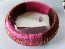 FUNKY RETRO 60s / 70s PINK BROWN & GOLD FABRIC COVERED BANGLE new gift pouch
