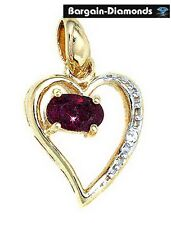 ruby heart 10K gold pendant deep red birthstone love promise july birthday mom