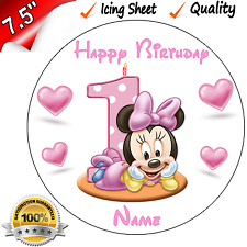 1st Birthday - Minnie Mouse - Edible Icing Cake Topper