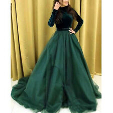 Emerald Green Muslim Formal Evening Dresses Long Sleeve Velvet Prom Party Gowns