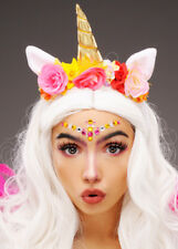 Womens Pink Unicorn Horn Headpiece with Flowers