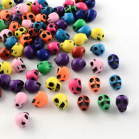 50 x 10mm Mix Colour Skull Printed Acrylic Bead Sugar Skull Jewellery Making