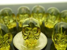 Genuine Natural Green Baltic Amber Heat Treated Hand Carved Skull Beads 1 Pc.