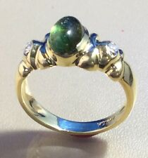 14K YELLOW GOLD LADIES RING W/ GREEN TOURMALINE CABOCHON, DIAMOND ACCENTS, SZ 6