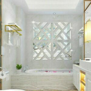 4/8 Slice 3D Mirror Acrylic Wall Sticker DIY Vinyl Decal Home Room Decor Mural