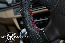 FITS PEUGEOT 206 98-11 PERFORATED LEATHER STEERING WHEEL COVER RED DOUBLE STITCH