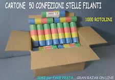 CARNEVALE CARTONE 50 ROTOLI STELLE FILANTI CLASSICHE in CARTA FESTA PARTY