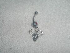 Skull with Wings Charm Belly Button Navel Ring Body Jewelry Piercing
