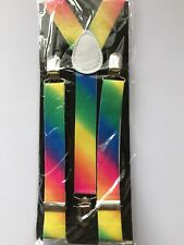 Men Lady Girl Boy retro Rainbow Colorful Multi color Party Brace Suspender belt