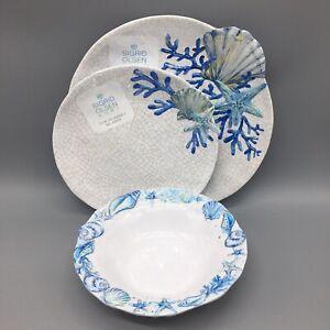 12pc Sigrid Olsen Seashell Melamine Dinner Salad Plate Bowl Set Beach Starfish