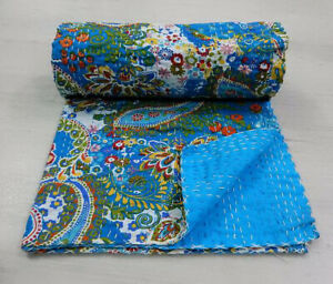 Indian Kantha Twin Quilt Turquoise Paisley Reversible Bedspread Blanket Throw