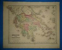 Vintage 1857 GREECE - IONIAN REPUBLIC MAP Old Antique Original Atlas Map
