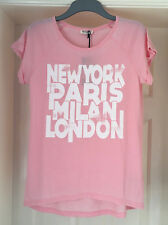 Brave Soul Womens Size Small Pink New York Paris London T-Shirt Top