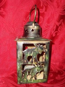 Metal Northwoods Cabin MOOSE Cut Out w/tealight Shabby Chic Patina Lantern