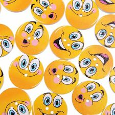 50PCS Emoji Painted 25MM Wooden Buttons Boots Coat Sewing Clothes Accessories