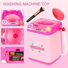Mini Electric Washing Machine Kids Dollhouse Toy Makeup Brushes Cleaner Washer