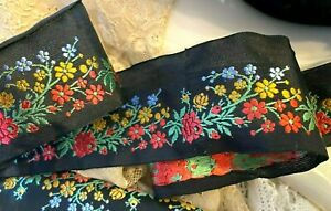 "Vintage  Silk 1940s Embroidered Flowers 2"" Trim Ribbon 1 yd Made in France"
