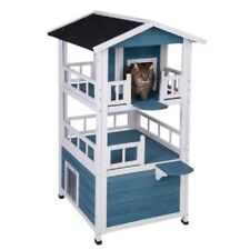 Outdoor Wooden Penthouse Cat House Home Kitty den Shelter