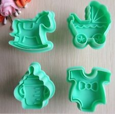 Baby Shower Cookie Fondant Gum Paste Cutter Plunger Set Baking Mold Molder Tools