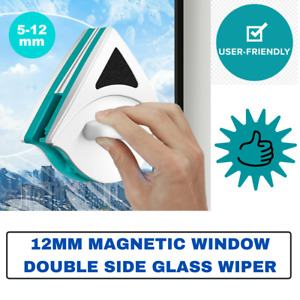 Magnetic Window Double Side Glass Wiper Cleaner Surface Cleaning Brush Pad 12mm