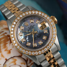 Rolex 26mm Datejust Tahitian Mother of Pearl Diamond Accent Dial 2 Tone Watch