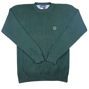 Tommy Hilfiger Men's XL Sweatshirt Green Embroidered Logo Knitted Jumper Thick
