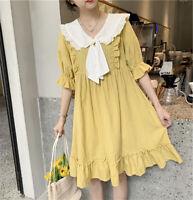 Women's Bow Princess Dress Girls Cute Sweet Lolita Short Sleeve Japanese Kawaii