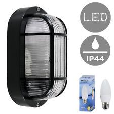 Modern Black Outdoor Garden LED Security Bulkhead Wall Light Lamp Bulb Ip44