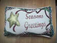 Christmas pillow  seasons greetings new 12 x 7 1/2