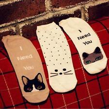 Fashion 3Pairs Set #P Soft Sweat Cute Lady Womens Cotton Cat Print Socks Low Cut
