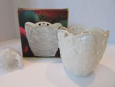 "Lenox Bone China Merry Lights Santa Votive Candle 3.5"" New In Box Great Gift"