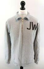 JACK WILLS Mens Jumper Sweater S Small Grey Cotton 1/4 Zip